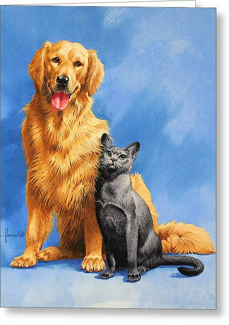 Friends On Blue Greeting Card by John Francis