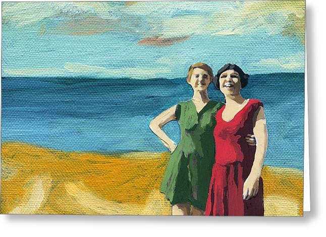 Linda Apple Paintings Greeting Cards - Friends on the Beach Greeting Card by Linda Apple
