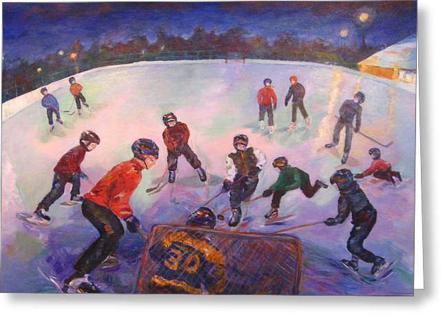Hockey Paintings Greeting Cards - Friends Scrimmage at Tuxedo Community Club Greeting Card by Naomi Gerrard
