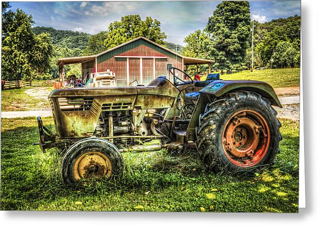 Old Barns Greeting Cards - Friends with Tractors Greeting Card by Debra and Dave Vanderlaan