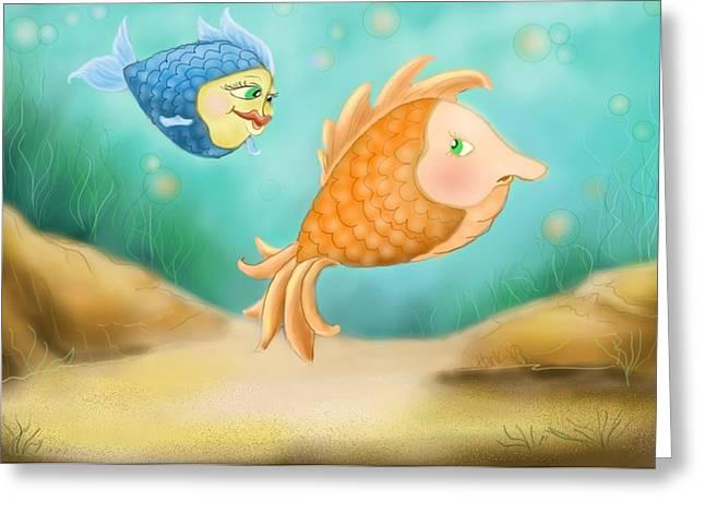 Fish Print Greeting Cards - Friendship Fish Greeting Card by Hank Nunes
