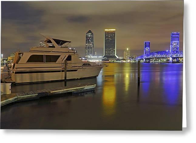 Jacksonville Greeting Cards - Friendship Park Marina - Jacksonville Florida - Skyline Greeting Card by Jason Politte
