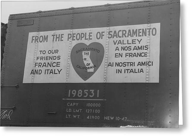 """""""war Relief"""" Greeting Cards - Friendship Train Donation From Sacramento Valley - 1947 Greeting Card by Chicago and North Western Historical Society"""