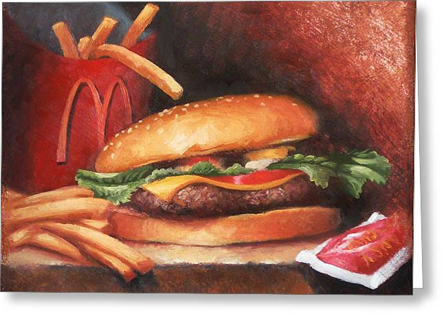 Burger Greeting Cards - Fries With That Greeting Card by Timothy Jones