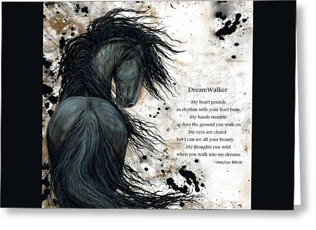 Friesian Greeting Cards - Friesian DreamWalker Horse Greeting Card by AmyLyn Bihrle