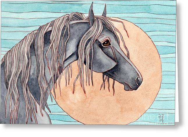 Quarter Horses Mixed Media Greeting Cards - Friesian Over Gold Moon Greeting Card by Suzanne Joyner