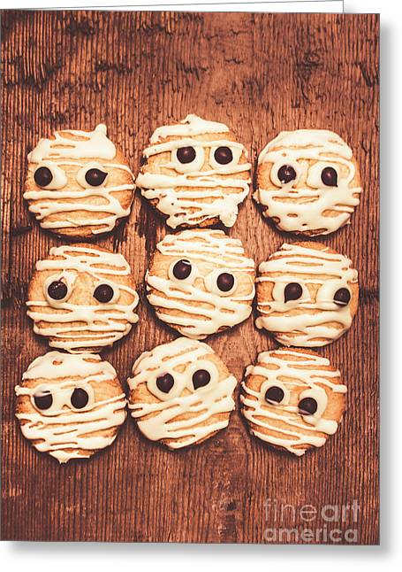Frightened Mummy Baked Biscuits Greeting Card by Jorgo Photography - Wall Art Gallery