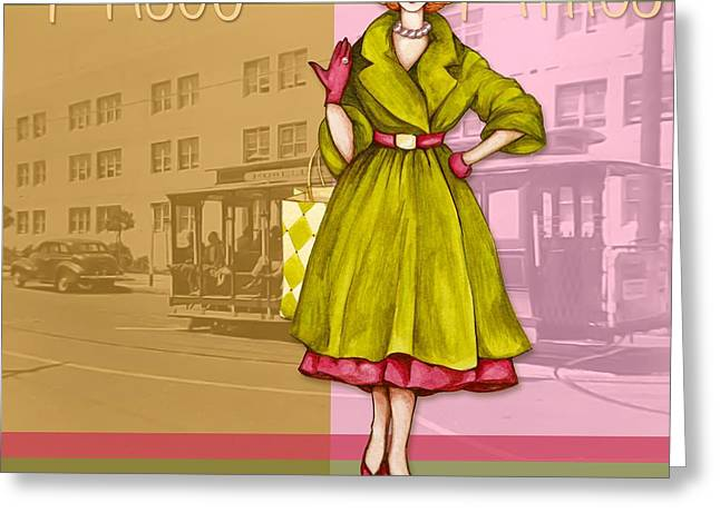 Glove Greeting Cards - Frisco in the Fifties Shopping at I Magnin Greeting Card by Cindy Garber Iverson