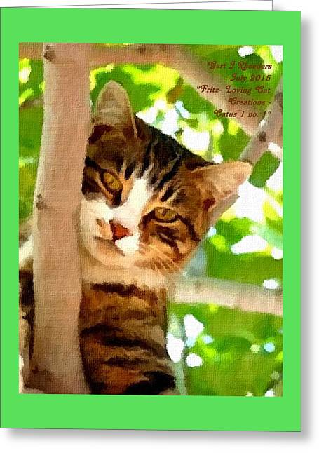 Abstract Digital Pastels Greeting Cards - Fritz - Loving Cat Creations Catus 1 no. 1 V A Greeting Card by Gert J Rheeders