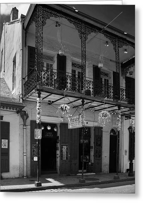 Fritzel's European Jazz Pub In Black And White Greeting Card by Chrystal Mimbs