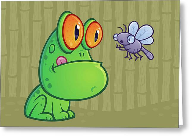 Dragonflies Greeting Cards - Frog and Dragonfly Greeting Card by John Schwegel