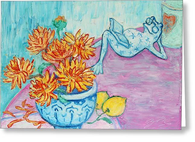 Lemon Art Greeting Cards - Frog Chrysanthemum Tea Greeting Card by Xueling Zou