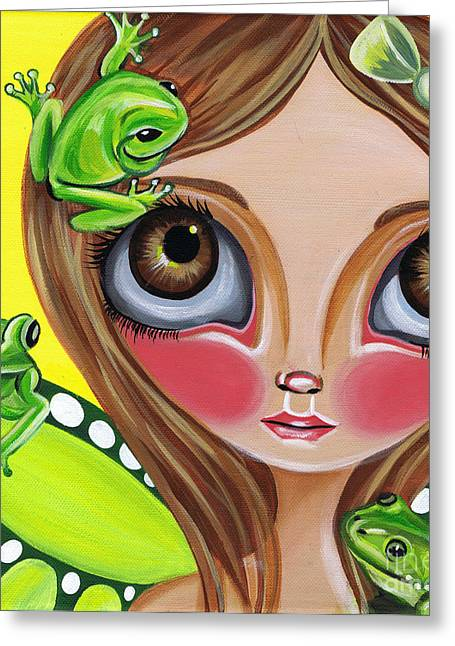 Quirky Greeting Cards - Frog Fairy Greeting Card by Jaz Higgins