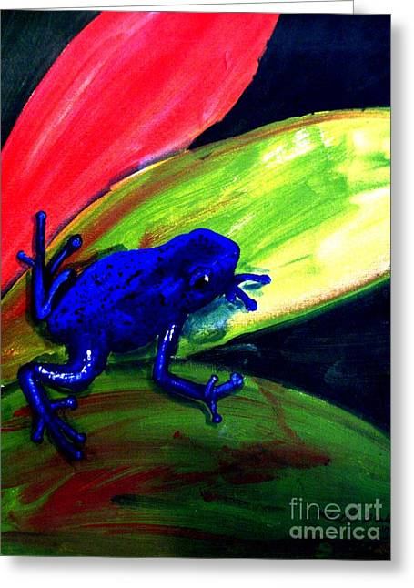 Frog On Leaf Greeting Card by Mike Grubb