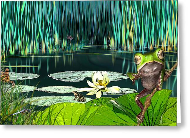 Lilly Pads Greeting Cards - Frog Pond Greeting Card by Darrell Storts
