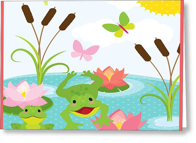 Day Lilly Greeting Cards - Frog Pond-JP2984 Greeting Card by Jean Plout