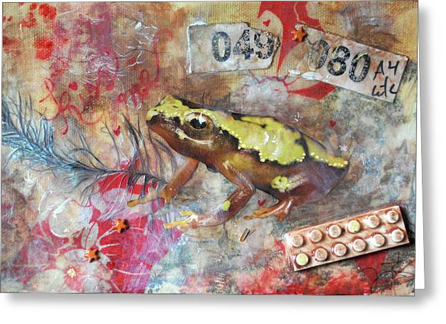 Nursery Rhyme Mixed Media Greeting Cards - Frog Prince Greeting Card by Jennifer Kelly