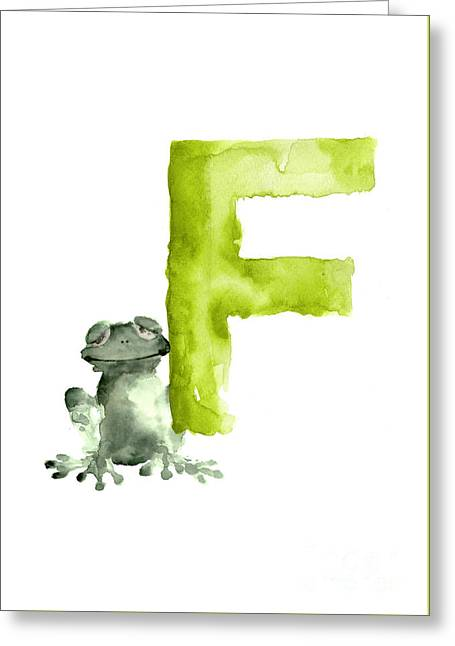 Frog Watercolor Alphabet Painting Greeting Card by Joanna Szmerdt