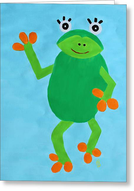 Froggie Greeting Card by Deborah Boyd