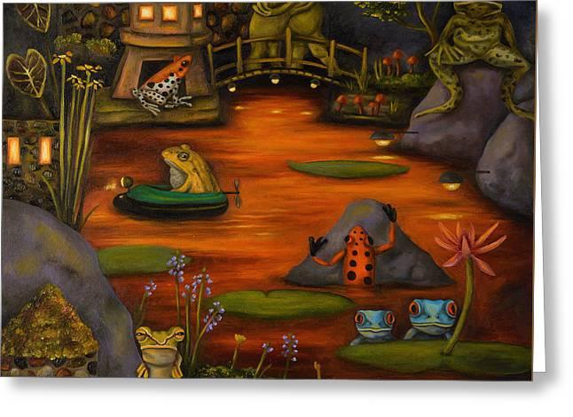 Purple Mushroom Greeting Cards - Frogland 2 Greeting Card by Leah Saulnier The Painting Maniac
