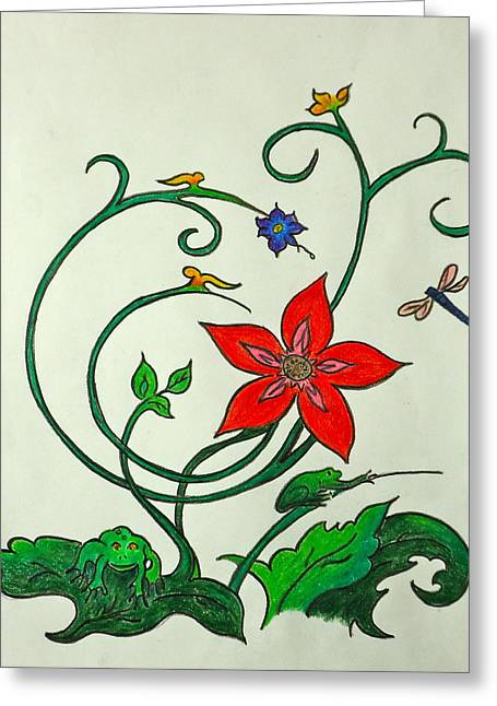 Flash Drawings Greeting Cards - Frogn Flower Greeting Card by Pete Maier