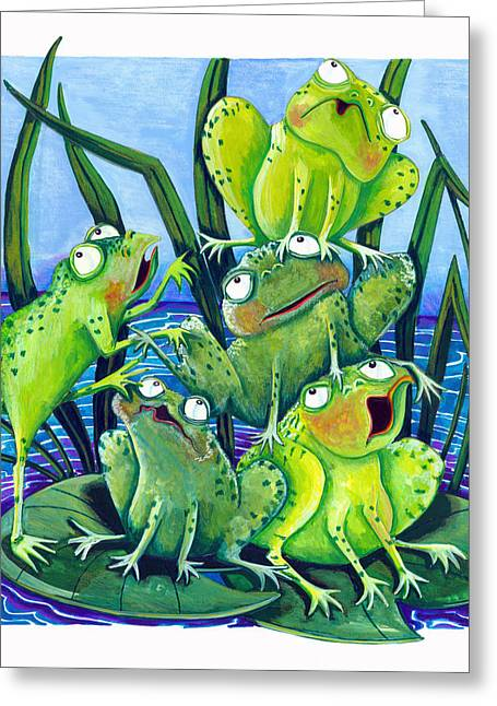 Lilly Pad Greeting Cards - Frogs Greeting Card by Ilene Richard
