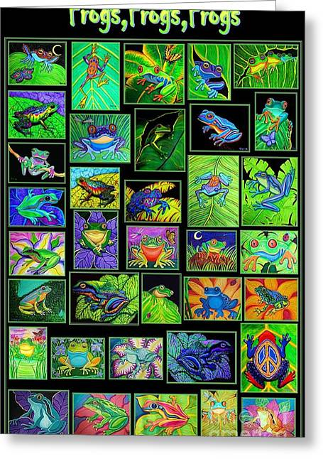 Amphibians Digital Art Greeting Cards - Frogs Poster Greeting Card by Nick Gustafson