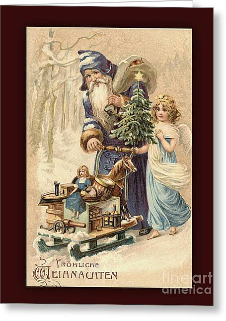 Frohe Weihnachten Vintage Greeting Greeting Card by Melissa Messick