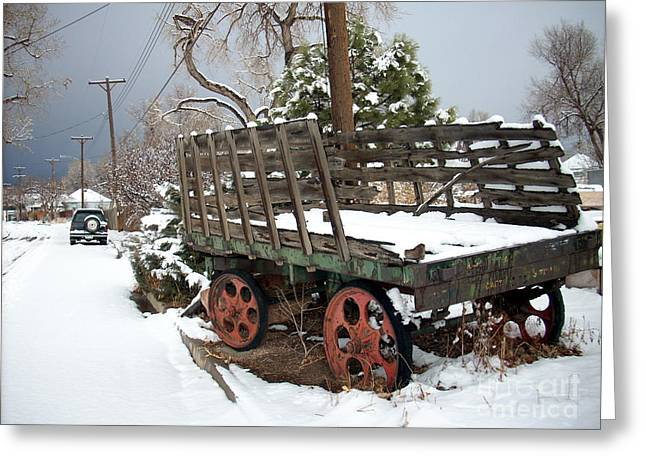 Wooden Wagons Mixed Media Greeting Cards - From a Time Gone By Greeting Card by Jack Norton