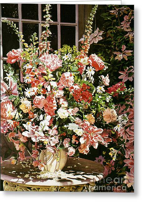 Flower Still Life Greeting Cards - From An English Country Garden Greeting Card by David Lloyd Glover