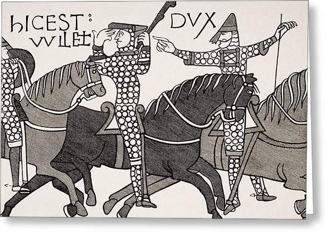 Norman Drawings Greeting Cards - From Bayeux Tapestry. William Duke Of Greeting Card by Ken Welsh