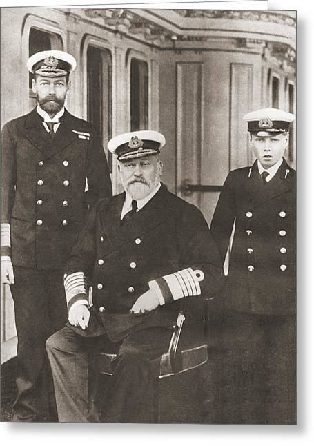 From Left, Prince Of Wales, Later King Greeting Card by Vintage Design Pics