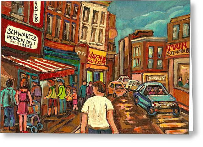 Lubavitcher Greeting Cards - From Schwartzs To Warshaws To The  Main Steakhouse Montreals Famous Landmarks By Carole Spandau  Greeting Card by Carole Spandau