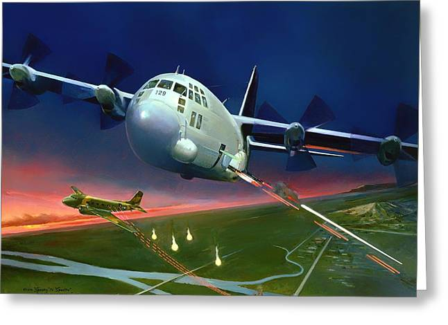 Military Airplanes Paintings Greeting Cards - From Spooky To Spectre Greeting Card by Attilio Sinagra