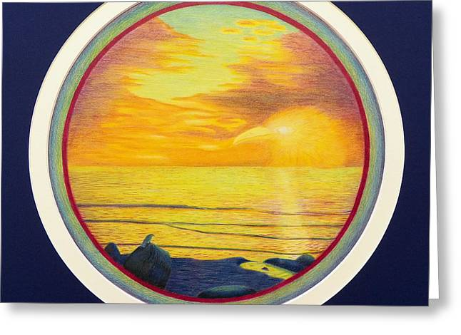 Sunset Seascape Drawings Greeting Cards - From The Beginning Greeting Card by Brian  Commerford