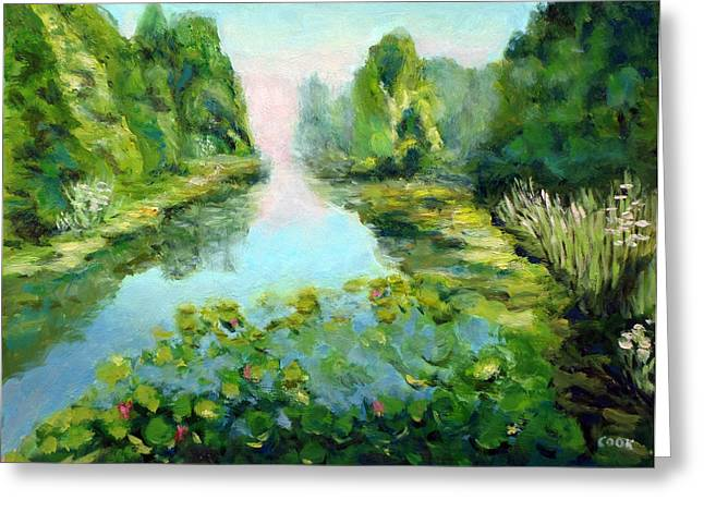 Water Lilly Greeting Cards - From the Bridge Greeting Card by Robert Cook
