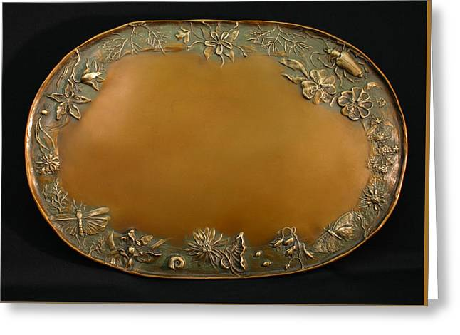 Bronze Reliefs Greeting Cards - From the Foothills Bronze Tray Greeting Card by Dawn Senior-Trask
