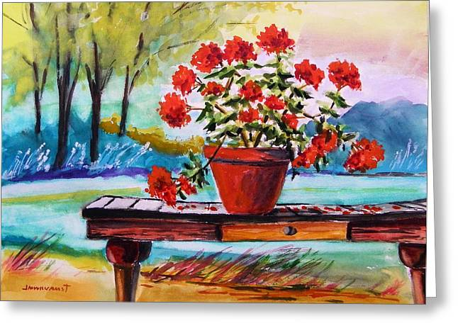 Red Geraniums Greeting Cards - From the Potting Shed Greeting Card by John  Williams