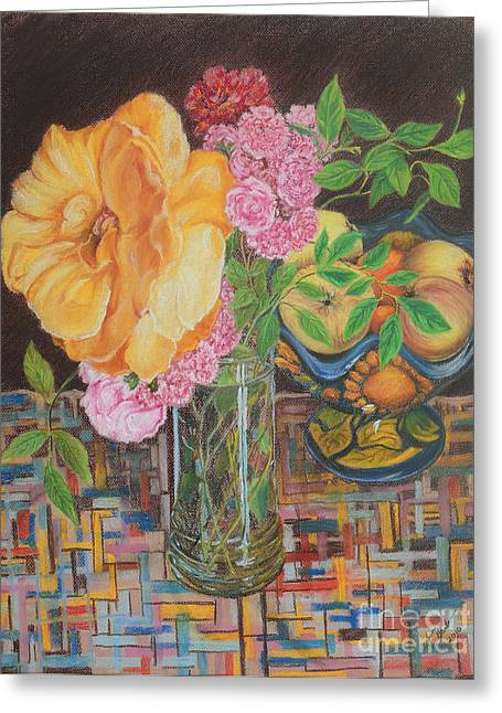 Bowl Pastels Greeting Cards - From the Rose Bed Greeting Card by Jim Barber Hove