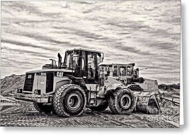 Front End Loader Greeting Cards - Front End Loader Black and White Greeting Card by Tom Gari Gallery-Three-Photography