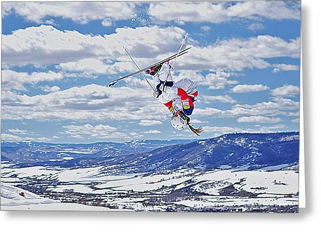 Freestyle Skiing Greeting Cards - Front Flip in Clouds Greeting Card by Matt Helm
