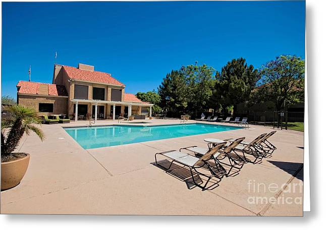 Leasing Greeting Cards - Front Pool and Leasing Office Greeting Card by Mia Washington