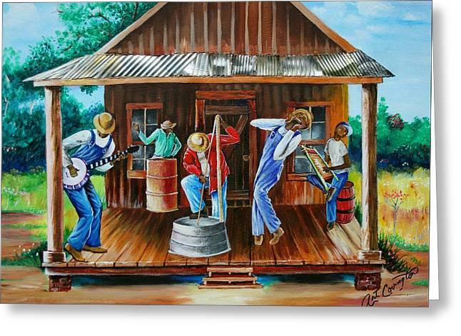 Sharecrop Greeting Cards - Front Porch Jamming Greeting Card by Arthur Covington