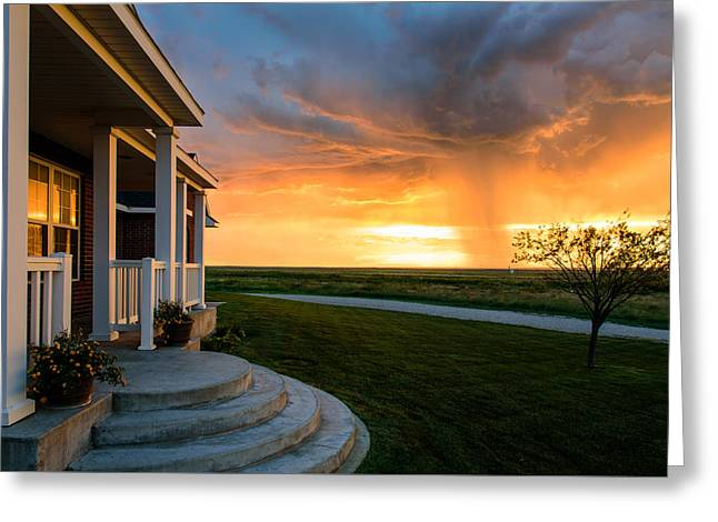 Raining Greeting Cards - Front Porch Light Show Greeting Card by Paul Moore