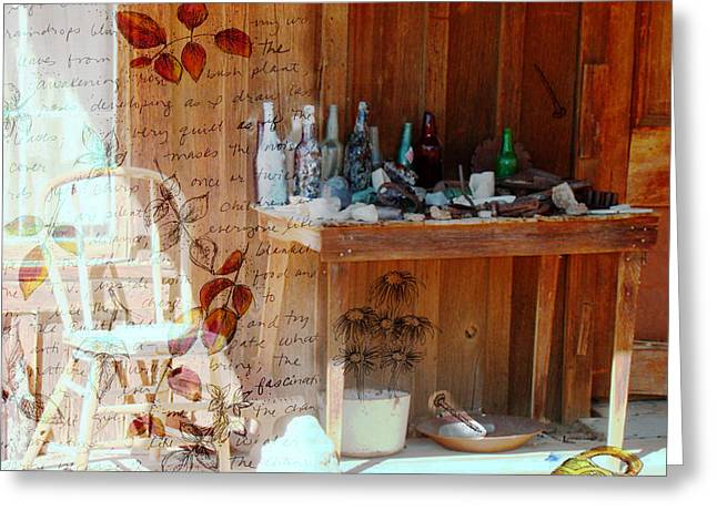 Cabin Window Mixed Media Greeting Cards - Front Porch Table Greeting Card by Cathie Richardson