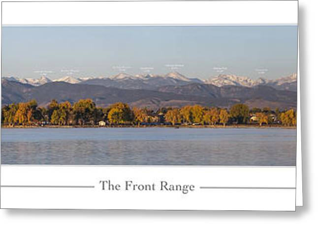 Listed Greeting Cards - Front Range with Peak Labels Greeting Card by Aaron Spong