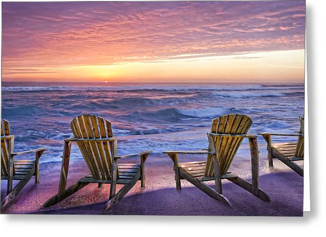 Reflections Of Sky In Water Greeting Cards - Front Row Seats Greeting Card by Debra and Dave Vanderlaan