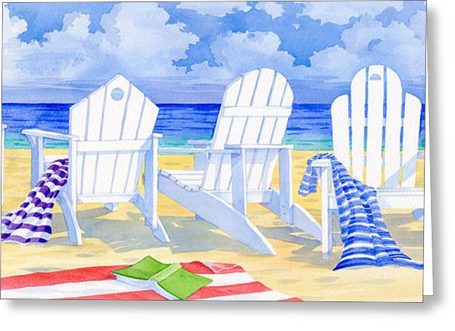 Beach Towel Paintings Greeting Cards - Front Row Seats Greeting Card by Paul Brent