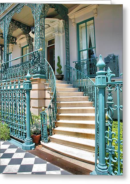 Entryway Greeting Cards - Front Steps To John Rutledge Home Greeting Card by Steven Ainsworth