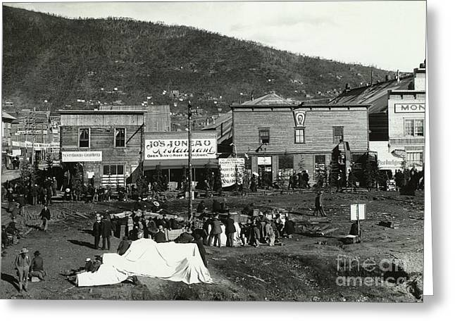 Klondike Gold Rush Greeting Cards - Front Street Of Dawson City Greeting Card by Photo Researchers